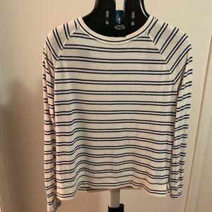 Navy Blue Striped LOFT Shirt.  Size-M.